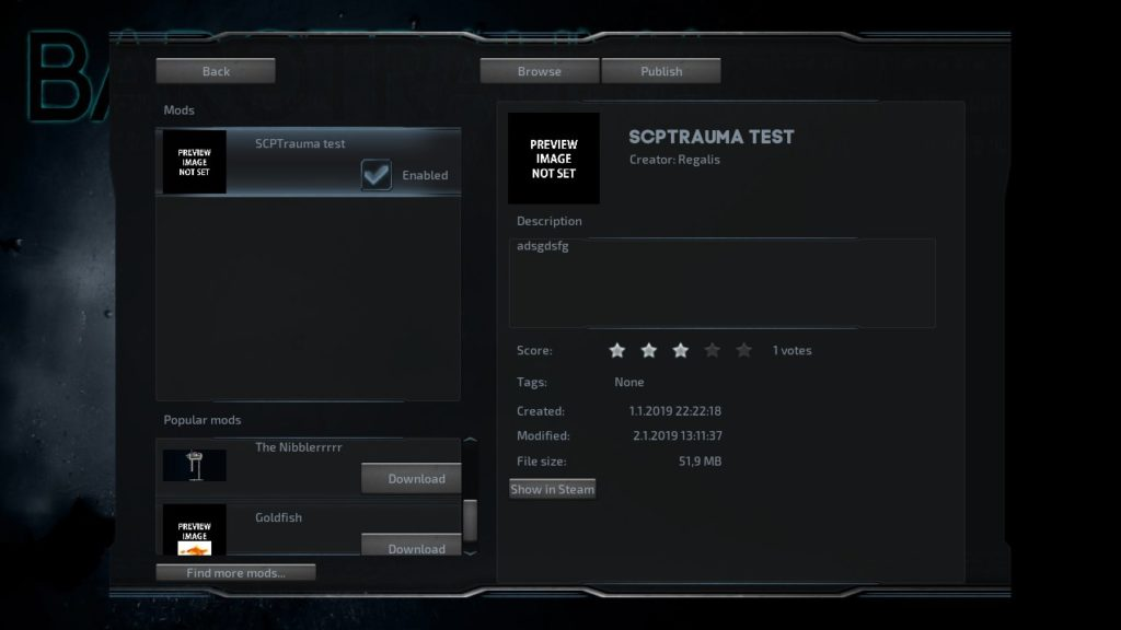 Barotrauma Steam Workshop Interface